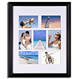 Adeco PF0044 Black Wood Bulletin Board-Style Hanging Picture Frame, 7 Openings, 4x6''
