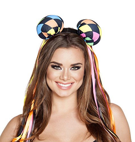 Roma Costume Women's Multi Colored Diamond Head Piece with Ribbons, Multi, One Size
