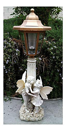 (2 Outdoor Garden Decor Solar Fairy Angel/Cherub Statue Sculpture LED Lights ((2) Girl & Boy Fairy))