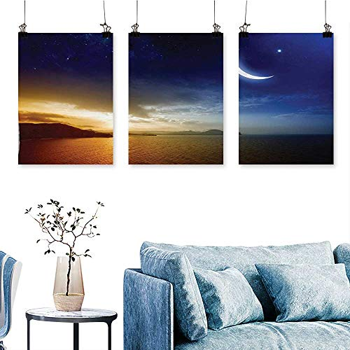 (SCOCICI1588 3-Piece Triptych Serene Landscape with Moon Lunar and Star Mystic Holy Sky Over Lake Image for Wall Decor Home Decoration No Frame 16 INCH X 24 INCH X 3PCS)