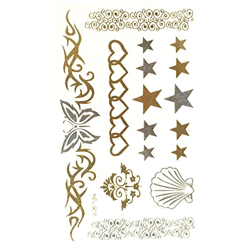 Allydrew Small Metallic Gold Silver and Black Body Art Temporary Tattoos, Hearts, (Small Star Face)