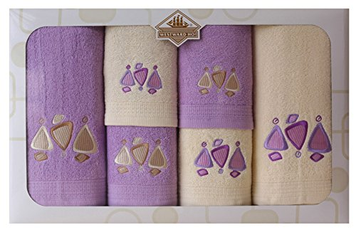 Westward Ho! Earth Embroidery Box Towel, Cream/Purple by Westward Ho!
