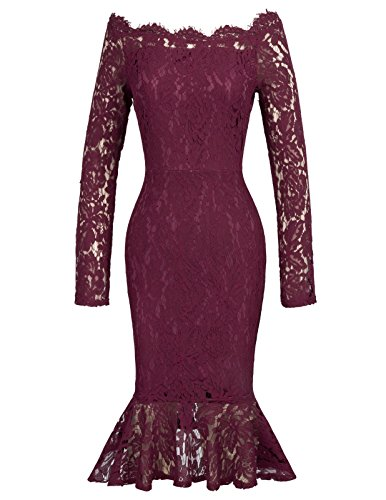 Grace Karin Boat Neckline Lace Overlay Evening Swing Pencil Dress XL Wine Red