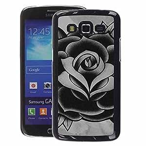 A-type Arte & diseño plástico duro Fundas Cover Cubre Hard Case Cover para Samsung Galaxy Grand 2 (Rose Black White Grey Ink Tattoo Petal)