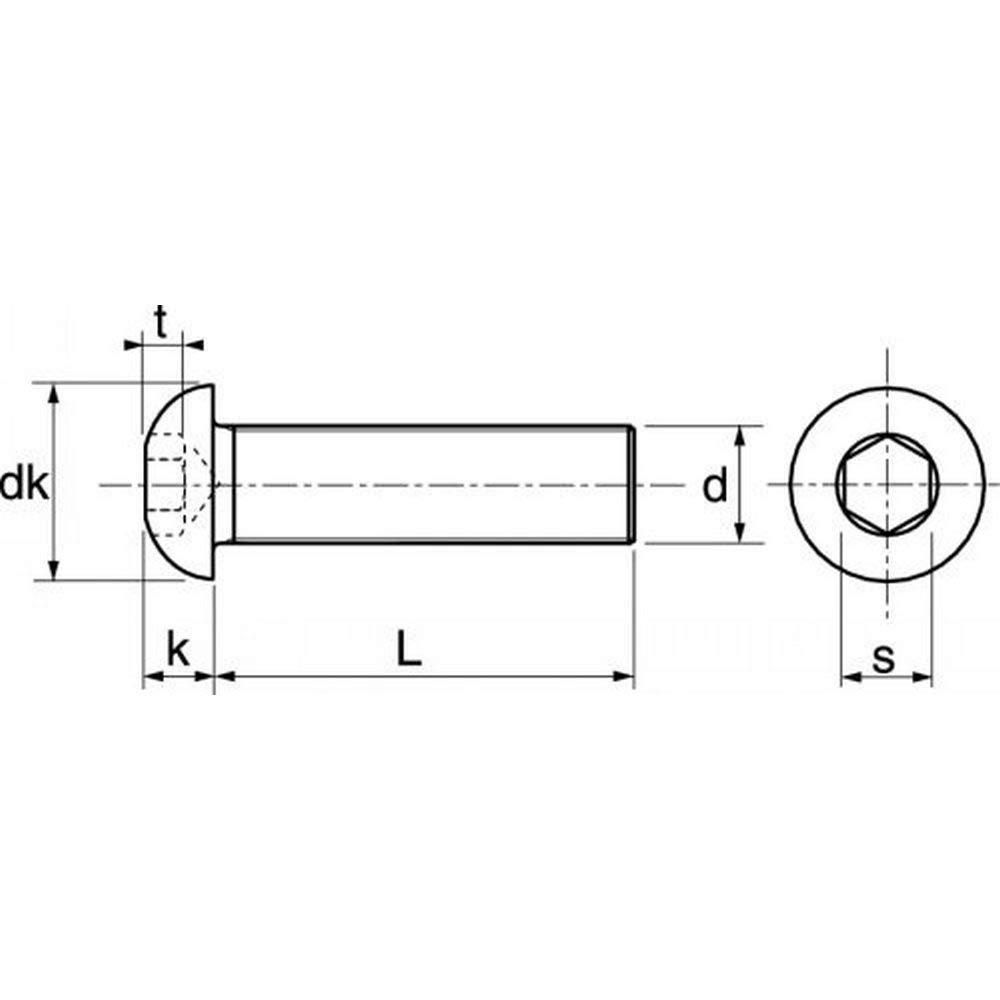 100 tornillos con hex/ágono interior A2 M8 rosca completa 8 x 80 ISO7380-1 acero inoxidable