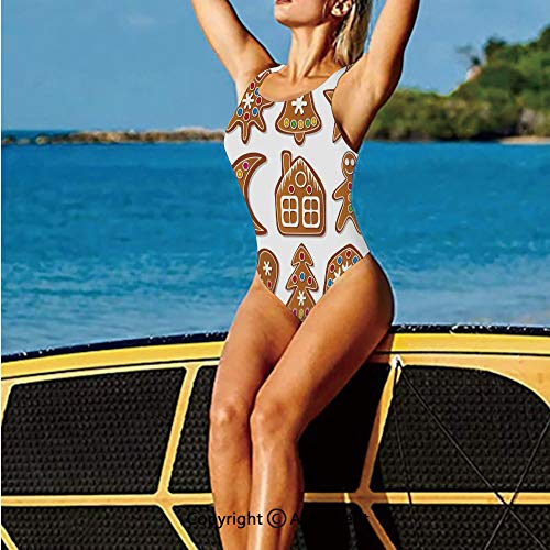 (Swimwear Low Back,of Graphic Gingerbread Sugar Biscuits,Women's Swimsuits)