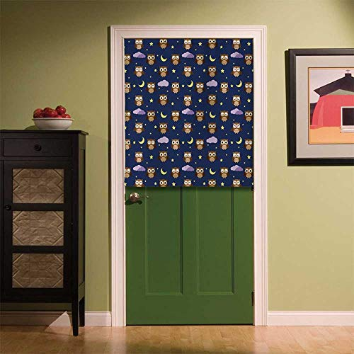 YOLIYANA Nursery Fabric Art Door Curtain,Cute Owls in an Starry Night and Moon Happy Sleepy and Alert Animals Decorative for Locker Room Store Privacy Space,35.43''W x 35.43''H