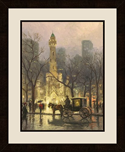 PTM Images 1-38005 Thomas Kinkade, The Water Tower Chicago-II, 20.375x25.375 Wall Art The Water Tower Chicago-II, Bronze, - Chicago Water Tower