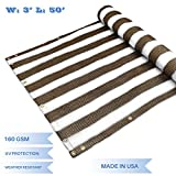 E&K Sunrise 3' x 50' Privacy Fence Screen Mesh for Balcony Porch Deck Outdoor Protection Fencing Shield Net Patio Pool Backyard Rails Balcony-Brown/White -200GSM-Customized