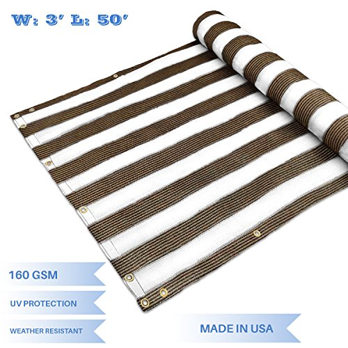 E&K Sunrise3' x 50' Privacy Fence Screen Mesh for Balcony Porch Deck Outdoor Protection Fencing Shield Net Patio Pool Backyard RailsBalcony-Brown/White -200GSM-Customized by E&K Sunrise
