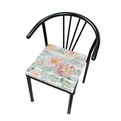 "Bardic HNTGHX Outdoor/Indoor Chair Cushion Floral Painting Stripe Square Memory Foam Seat Pads Cushion for Patio Dining, 16"" x 16"": Home & Kitchen"