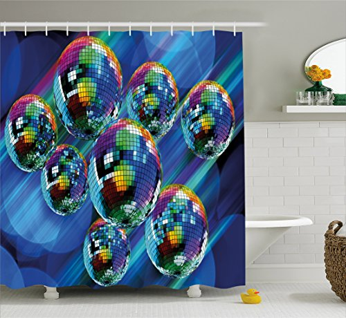 Ambesonne 70s Party Decorations Shower Curtain, Colorful Funky Vibrant Disco Balls Abstract Night Club Dancing Theme, Fabric Bathroom Decor Set with Hooks, 70 inches, Multicolor