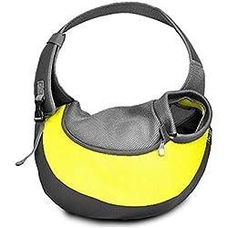 Pet Travel Carrier Crate Mesh Fabric Nylon Leisure Single Shoulder Pet Bag Backpack For Pet Dog Outdoors Portable Shoulder Bag Cat And Dog Pet Oblique Kua Package , S , 4
