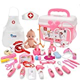 SINYUM Doctor Play Set with Nurse Clothing, Visual Height Table ,Doll and 31 Pieces of Doctor Pretend Tools - Realistic, Safe & Fun Doctor Kit Pretend Play Girls Toys