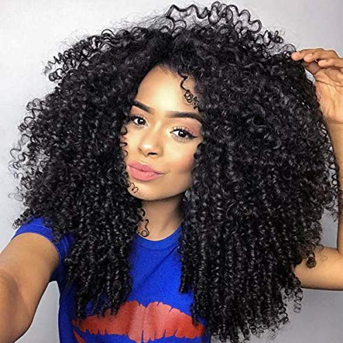 - Glueless Synthetic Lace Front Wig with Bangs For Black Women Wigs Long Black Wavy Curly Wig 200% Heavy Density Long Thick Curly Wigs Swiss Lace Ear to Ear 24 Inches