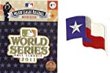 2 Patch Combo - 2011 World Series + Texas Rangers Flag Patch - Official MLB Licensed