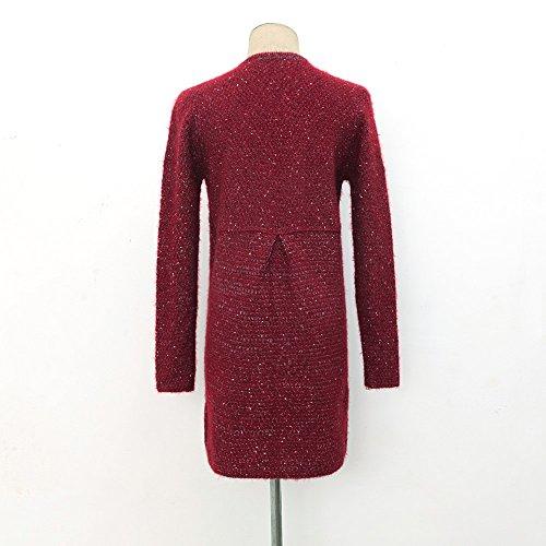 OverDose Otoño Invierno Mujeres algodón elástico de la torcedura de punto de manga larga con capucha Vino