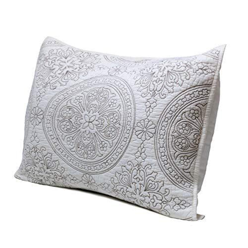 - Elegant Life All-season 100% Cotton Super Soft Medallion Solid Embroidery Shams Pillowcases, Standard(20''x 26''), Ivory