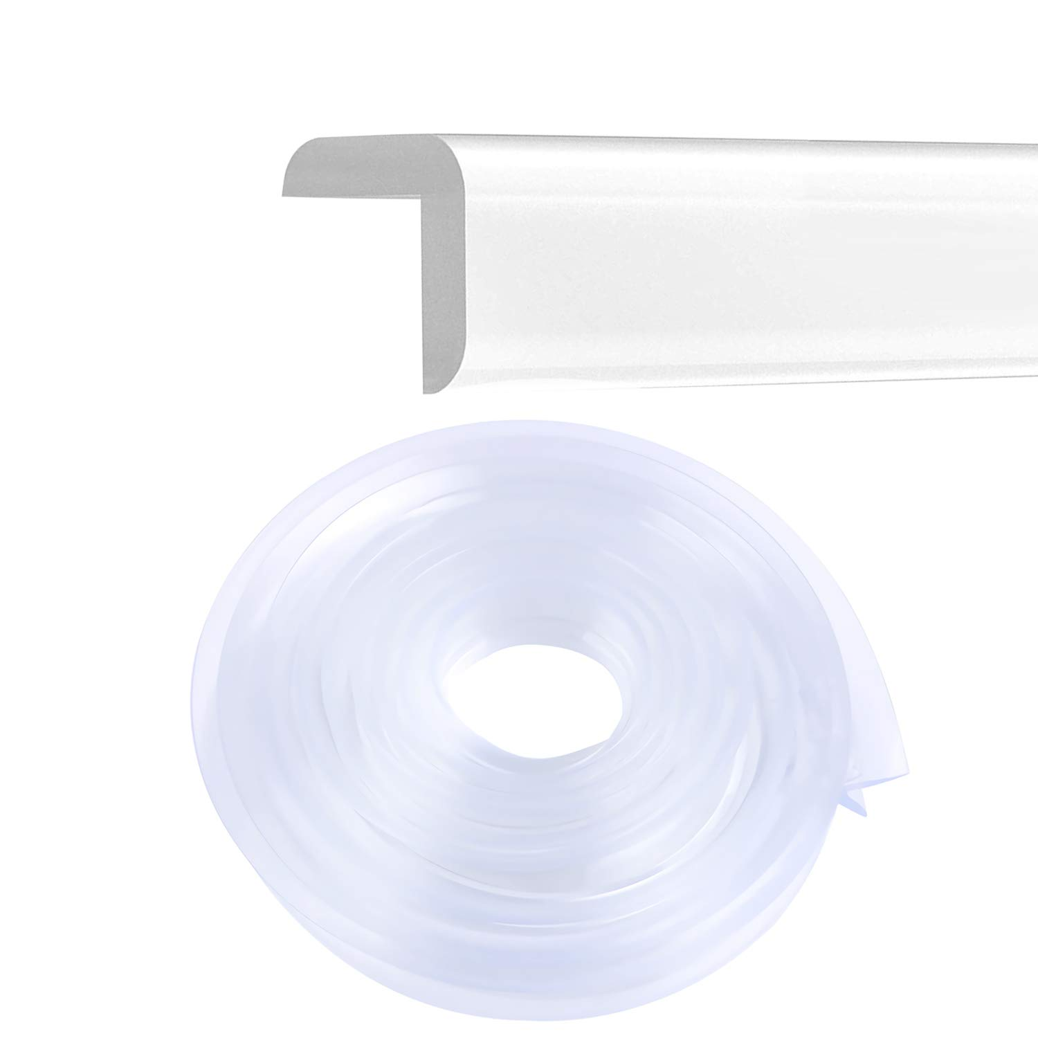 Corner Guards Furniture Edge Protectors Transparent Soft Silicone Bumper Strip Clear Edge Corner Cushion 20ft(6m) with Double-Sided Tape for Cabinets,Tables,Household