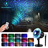 Water Wave Night Light Projector, KINGWILL Waterproof LED Projector Lamp with Ripple RGB 3D Water Effect, Remote Control Holiday...