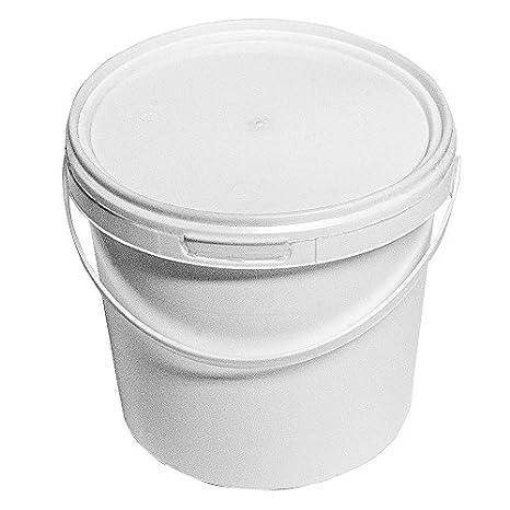 2,5/litros blanco cubo de pl/ástico completo con tapa blanca x 10