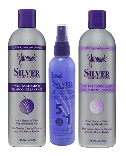 Jhirmack Hair Care Bundle with Silver Brightening Ageless Shampoo, Silver Brightening Ageless Conditioner and Silver Brightening Miracle Leave in Spray