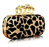 Leopard Point Skull Rings Clutch Handbag Fashion Evening Bag