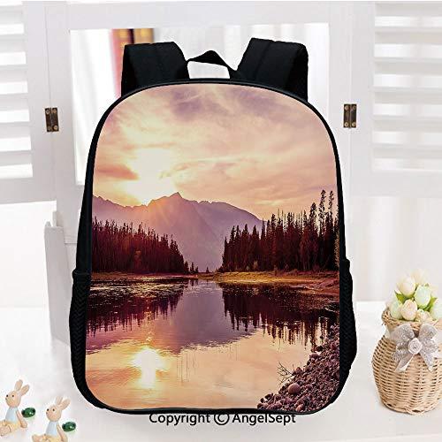 Casual Style Lightweight Backpack Grand Teton Mountain Range at Sunset Jackson Lake Calm National Park USA Decorative School Bag Travel Daypack,Peach Light Yellow
