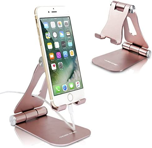 [Latest Version] Foldable Cell Phone Holder, YOSHINE Adjustable Cell Phone Stands Tablet Stand Solid Aluminum Stand Charging Dock for All Smart Phones and Tablets Desk Phone Accessories – Rose Gold