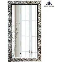Seven Horses B&W Floral Design Wall Mirror (14.5X26.5 Inch)