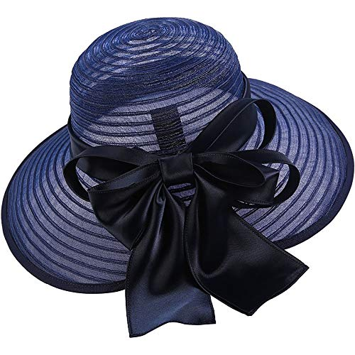 Straw Hat Women Summer Sun Hat Flat Large Wide Brim Gauze Cap Beach Travel for Hiking, Camping Suitable for Outdoor Summer (Color : Blue, Size : Free ()