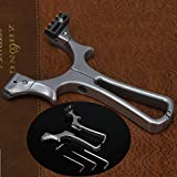 I-Sport Stainless Steel Detachable Slingshot Outdoor Hunting Sling Shot High Velocity Catapult with Flat Rubber Bands