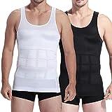 Mens Slim Body Shaper Compression Elastic Undershirt, Tank Vest Shapewear, Abs Abdomen Slim Compression (S to XXL white/black) + Free Gift 1 pc RFID Block Sleeve