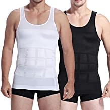 Mens Slim Body Shaper Compression Elastic Undershirt, Tank Vest Shapewear, Abs Abdomen Slim Compression (S to XXL white/black) + Free Gift 1 pc RFID Block Sleeve