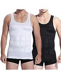 Mens Slim Body Shaper Compression Elastic Undershirt, Tank Vest Shapewear, Abs Abdomen Slim Compression (S to XXL white/black) 1 pc RFID Block Sleeve
