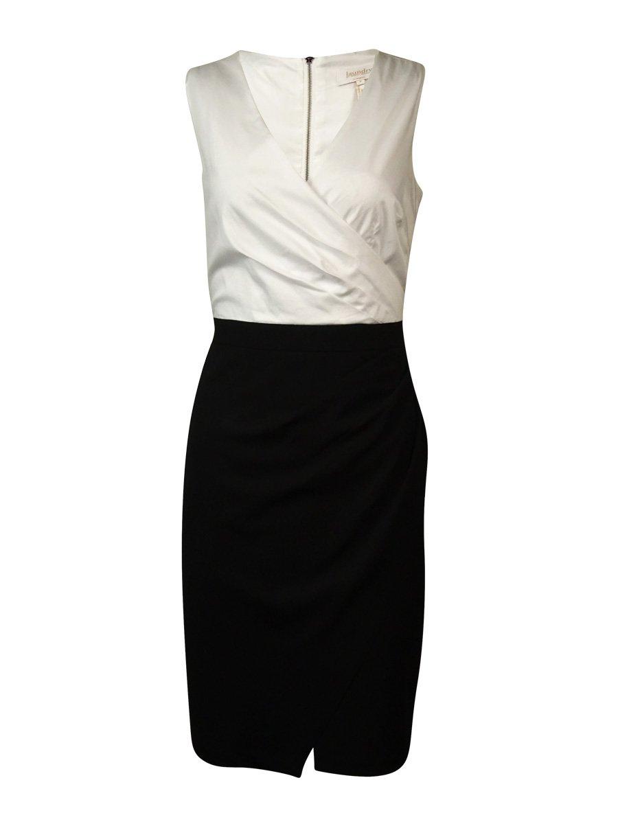 Laundry Women's Pleat Wrap Surplice Dress (6, Black)