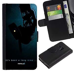 // PHONE CASE GIFT // Moda Estuche Funda de Cuero Billetera Tarjeta de crédito dinero bolsa Cubierta de proteccion Caso Samsung Galaxy S3 MINI 8190 / Portal Aperture /
