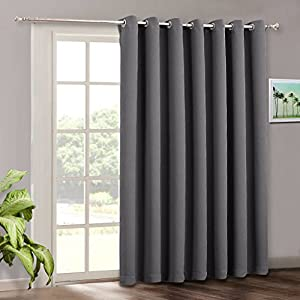 Blackout Patio Door Curtain Blinds - RYB HOME Adjustable Energy Smart Thermal Insulated Vertical Blind Solid Gray Window Treatment Drapes for Hotel / Sliding Door ( Wide 100 x Long 84 inch, Grey )