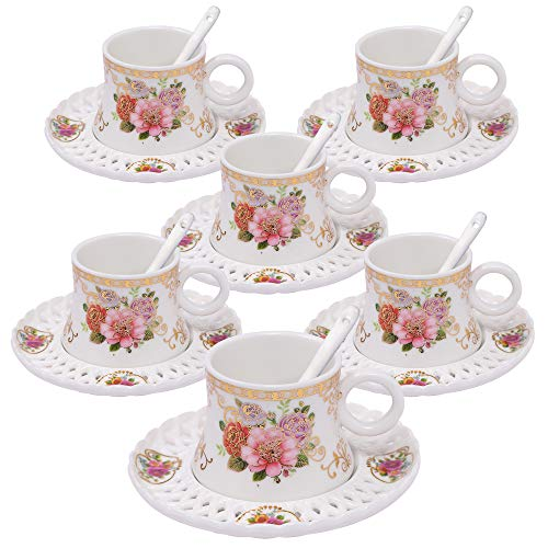 (ufengke 4oz Flora Coffee Cup Set,Small Capacity Porcelain Coffee Tea Sets,Set of 6 Ceramic Tea Cup and Saucer)