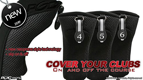 Black Hybrid Headcover (Black All Hybrid Headcover Set 4 5 6 Golf Club Covers Head Cover Neoprene Mesh Complete)