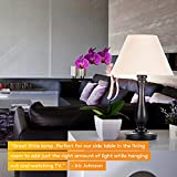 Brightech Noah LED Side Table & Desk Lamp – Traditional Elegant Wood Base with Neutral Lampshade & Soft, Ambient Lighting Perfect for Living Room, Office, or Bedside Nightstand Light- Black