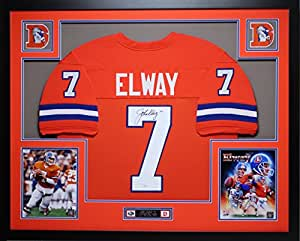 John Elway Autographed Orange Crush Broncos Jersey - Beautifully Matted and Framed - Hand Signed By John Elway and Certified Authentic by JSA COA - Includes Certificate of Authenticity