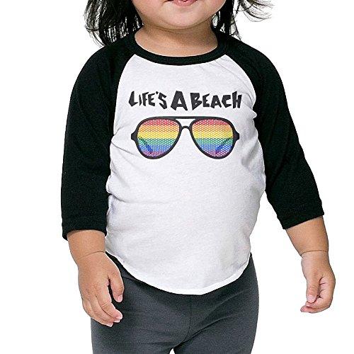 ALIPAPA Kids Boy's & Girl's Lifes A Beach Glasses 3/4 Sleeve Blended Baseball Tshirts Size 4 Toddler (Cartridges Beach Cricut)