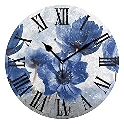 Tarity Silent Round Wall Clock, Blue Flowers Decorative Quiet Non Ticking Battery Operated Art Wall Clocks for Living Room Bedroom Office Kitchen Kids