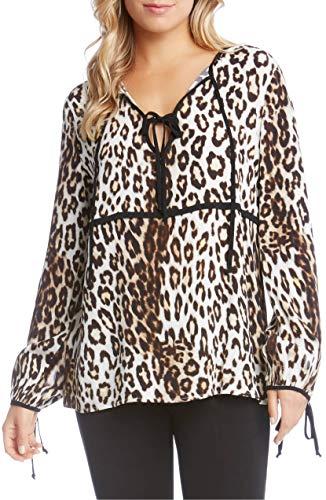 Karen Kane Women's Contrast Tie Top Leopard X-Large ()