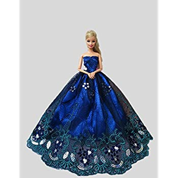Icollect® 1 PCS High quality Embroidery Wedding Party Gown Dresses   Clothes  for Barbie Doll 1895aa69d240