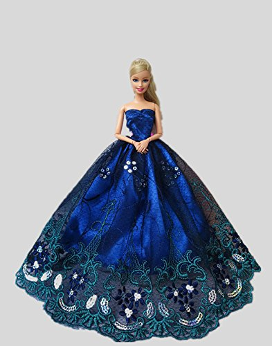 Barbie Blue Dress - Icollect® 1 PCS High quality Embroidery Wedding Party Gown Dresses & Clothes for Barbie Doll- Blue