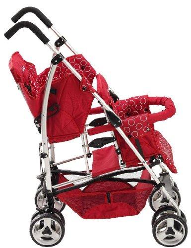 Kinderwagon Tandem Umbrella Stroller – Red
