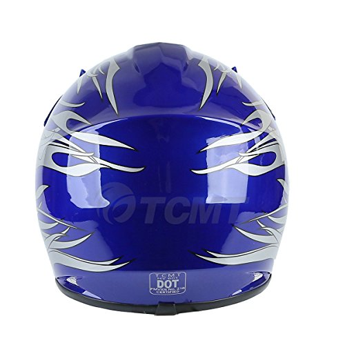 Amazon.com: TCMT DOT Youth Blue Flame Dirt Bike ATV MX Motocross Helmet Goggles+gloves XL: Automotive