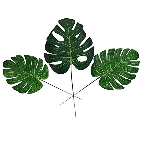 XHSP 20pcs Fake Faux Artificial Tropical Palm Leaves Green Monstera Leaves for Home Kitchen Party Decorations Handcrafts (Palm Fake Tree Small)